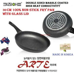 30 cm Kitchen Art Marble Stone Non Stick Coated  Frying Pan WITH FREE GLASS LID
