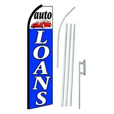 """FEATHER FLAG SWOOPER FLAG ADVERTISING BANNER 16' TALL COMPLETE KIT """"AUTO LOAN"""""""