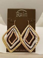 Hammered Diamond Shaped Gold/Silver Drop Hook Earrings By Rain