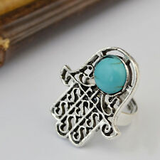 New Arrival Fashion Popular Bohemia Silver Plated Cute Palm Turquoise Rings