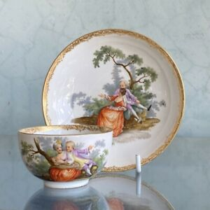 Meissen teabowl & saucer, Watteauesque scenes, c. 1770