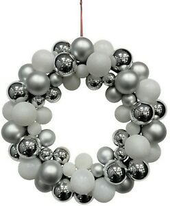 34cm Christmas Bauble Wreath Silver & White Plastic Hanging Xmas Door Decoration