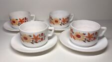 Lote de 4 Tazas Vintage Arcopal Francia Flores Naranjas H 5 l 9,5 l 7,5 Cm