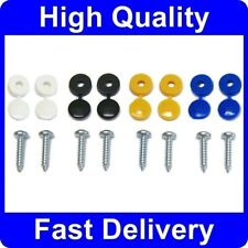 Number Plate Fixing Fitting Kit Screws & White, Yellow, Black, Blue Caps