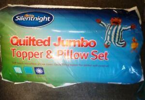 Silentnight Quilted Jumbo Mattress Topper Pillow Bundle Set Thick Bed KING