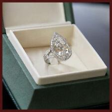 4.25Ct White Pear Cut Single Halo Diamond Engagement Wedding Ring 14K White Gold