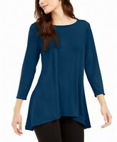 Alfani Womens Blouse Teal Blue Size XL High-Low Scoop-Neck Tunic $59- 478