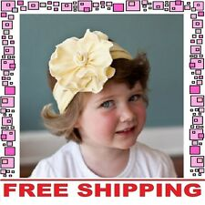 Yellow Cotton Flower Bow Headband Hairband Girls Baby Infant Toddler Children