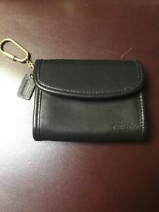 Vintage Coach Key Chain Wallet Black Leather Coin Purse