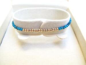 14k rose gold turquoise diamond cut beads blue bracelet gemstone bead bangle new