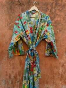 Frida Kahlo Printed Indian Cotton Plus Size Maxi Women Cover Up Kimono Dress