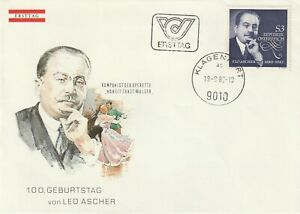 1980 Austria FDC cover 100th Birth Anniversary Leo Ascher