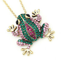 Betsey Johnson Women's Crystal Frog Charm Pendant Animal Necklace/Brooch Pin
