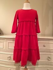 hanna andersson Red Velour Cotton - Love To Twirl Girls Dress Sz.120 6-7years