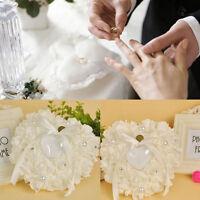 BN Wedding Ceremony White Satin Crystal Flower Ring Bearer Pillow Cushion Gifts