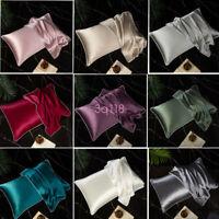 Queen 100% Silk Smooth Pillowcase Satin Pillow Case Bedding Women Anti-wrinkle L