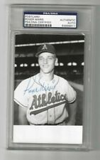 Roger Maris KC Athletics Autographed Baseball Postcard Photo PSA SLAB NY Yankees