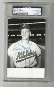 Roger Maris KC Athletics Autographed Baseball Postcard Photo PSA SLAB NY Yankees