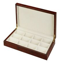 Diplomat Burl Wood Finish Twelve Pocket Watch Case with Cream Suede Interior
