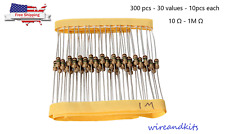 30 Values x 10 pcs 1/4W 1ohm-1M ohm Metal Film Resistors Assortment Kit Set