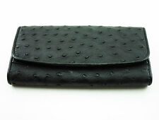 Women's GENUINE OSTRICH Leather Credit Card Clutch wallet New Black.