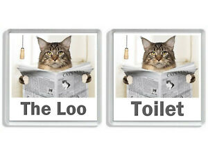 MAINE COON CAT READING A NEWSPAPER ON THE LOO Novelty Toilet Door Signs