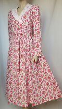 Laura Ashley Kleid 40 42 Blumen Spitzenkragen weiß rosa rot  langarm vintage