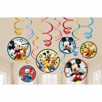 Disney Mickey Mouse Swirl Decorations 12-Pieces ~Birthday Party Supplies~