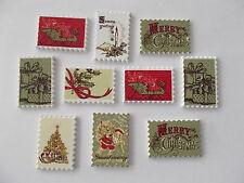 10 Noël timbre en forme en bois boutons Scrap Book Artisanat Couture