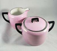 Vintage Sugar and Creamer Set P A L T  Czecho -Slovokia Pink W Black Trim Czech