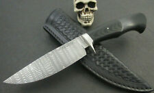 Custom Mozolic Knives Hand Forged Low Layer Ladder Damascus Blk Micarta Leather