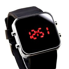 Unisex Mirror Luxury Sport Style Jelly LED Digital Date Lady Wrist Watch Black