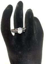 Women's Signed RJ Sterling Silver 925 Oval Clear Stone Ring Size 6