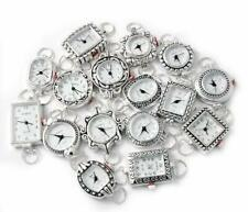 10 Mix Silver Tone Geneva Elite Watch Faces for Beading, Loops Battery Included
