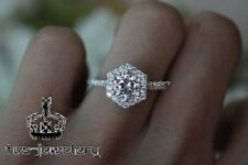 Engagement Ring 14K White Gold Over 1.00 Ct Round Cut D/Vvs1 Diamond Bridal