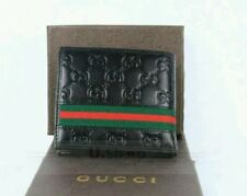 New! AUTHENTIC *GUCCI* Men's Classic Brown Guccissima Leather Web Bi-fold Wallet