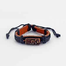 A Cool Brown Tiki Man Charms Hemp Leather Adjustable Bangle Bracelets