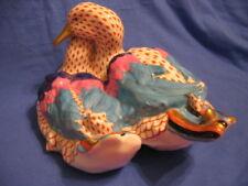 HEREND Pair of Ducks, rust fishnet, Medium Size Perfect!! Gorgeous!