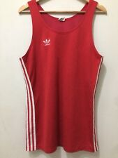 RARE• vintage 1970s red Adidas Originals Basketball Sports Vest Top•West Germany