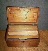 Antique Early 20th C Solid Oak Stationary Storage Box with Fitted Compartments