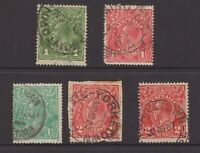 South Australia postmark selection x 5 on KGV inc. squared circle cancel