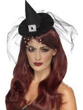 HALLOWEEN gotico Mini strega cappello con NERO & Strass a rete smiffys