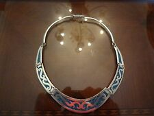 VINTAGE STERLING SILVER MEXICO CHOKER NECKLACE WITH TURQUOISE INLAY-925-VERY DIF