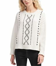 DKNY Womens Faux Leather Detail Pullover Sweater, White, X-Large