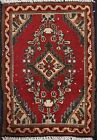 Vintage Geometric Oriental Traditional Area Rug RED Wool Hand-knotted 1x2 Foyer