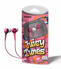MAXELL Juicy Tunes Any MP3 Player iPod iPhone Stereo Earbuds Headphones PINK NEW