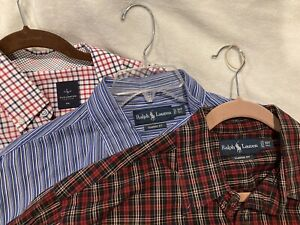 LOT 3 RALPH LAUREN Classic Fit TAYLORBYRD LONG SLEEVE BUTTON DOWN SHIRT XXL -H