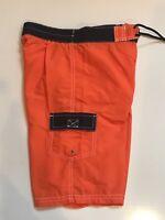 BEST & CO. Boys  Cargo Style Swim Trunks Board Shorts Lined Orange/Blue Size S