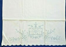 Vintage White Embroidered Pillowcases, Lt. Blue, Floral Cut Work, Occupied Japan