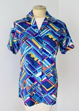 Vgc Vtg 60s 70s Bold Bright Blue Purple Gold Geometric Graphic Blouse Top 34